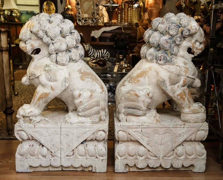 Pair of Carved Wood Painted Foo Dogs For Sale 4