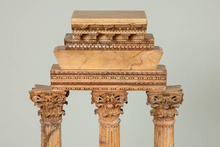 Large Carved Giallo Antico Grand Tour Model of the Temple of Castor and Pollux In Excellent Condition For Sale In London, GB