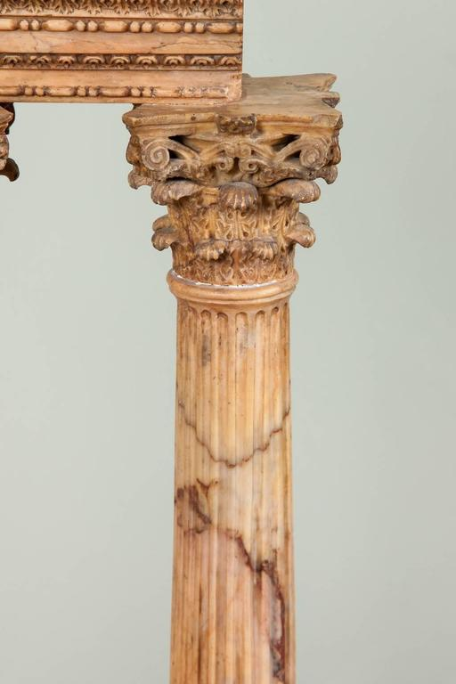 19th Century Large Carved Giallo Antico Grand Tour Model of the Temple of Castor and Pollux For Sale