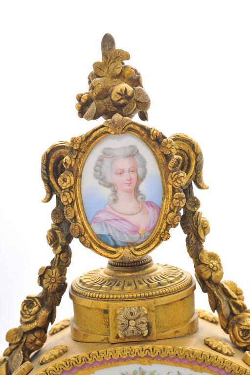 French 19th Century Pink 'Sevres' Porcelain Mantel Clock For Sale