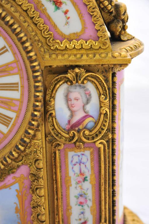 Hand-Painted 19th Century Pink 'Sevres' Porcelain Mantel Clock For Sale