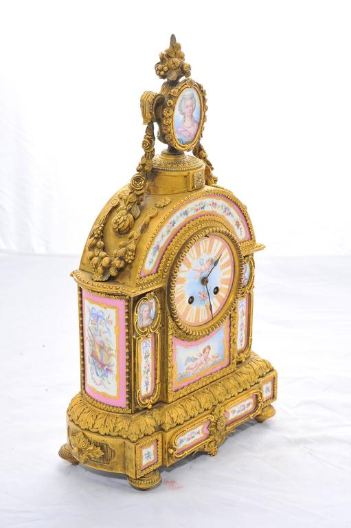 Ormolu 19th Century Pink 'Sevres' Porcelain Mantel Clock For Sale