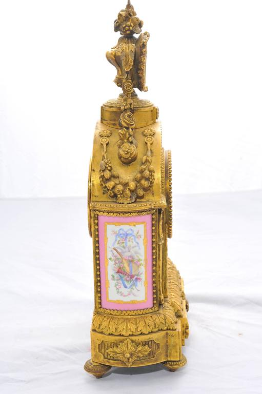 19th Century Pink 'Sevres' Porcelain Mantel Clock For Sale 1