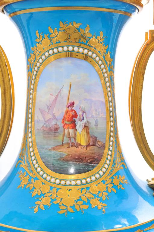 Gilt Pair of 19th Century 'Sevres' Classical Vases For Sale