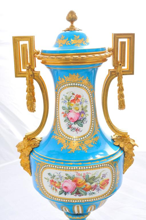 Pair of 19th Century 'Sevres' Classical Vases For Sale 3