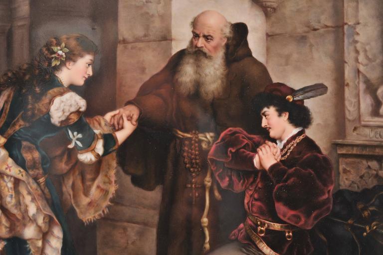 Austrian Large KPM Porcelain Plaque of 'Romeo and Juliet' 19th Century For Sale