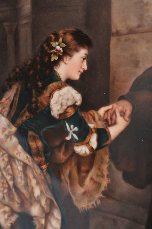 Hand-Painted Large KPM Porcelain Plaque of 'Romeo and Juliet' 19th Century For Sale