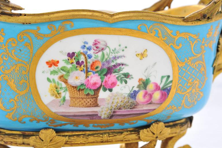Gilt 19th Century Sevres Jardiniere For Sale