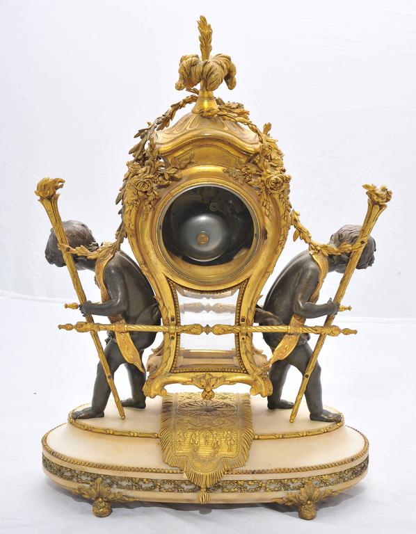 Large 19th Century French Mantel Clock by Gervais In Good Condition For Sale In Brighton, Sussex