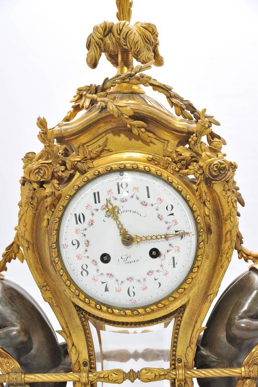Marble Large 19th Century French Mantel Clock by Gervais For Sale