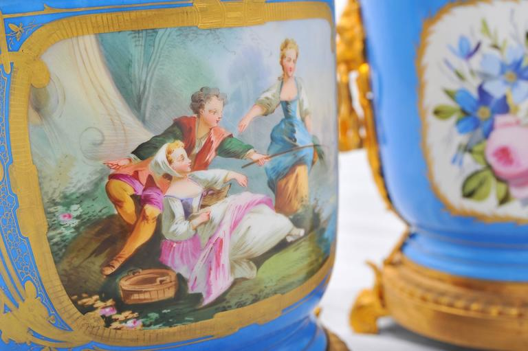Hand-Painted Pair of 19th Century Sevres Jardinieres For Sale
