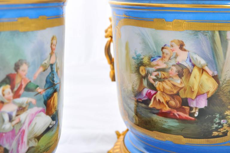 Pair of 19th Century Sevres Jardinieres In Excellent Condition For Sale In Brighton, Sussex