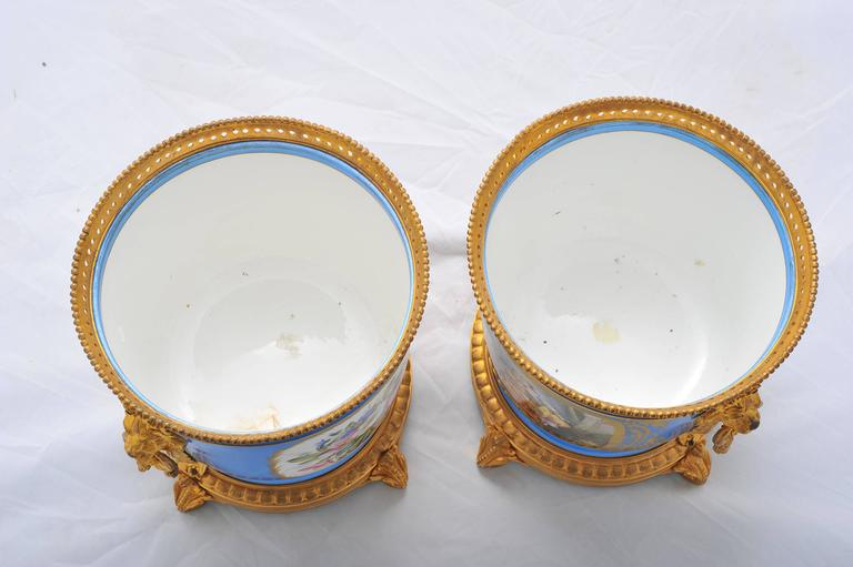 Porcelain Pair of 19th Century Sevres Jardinieres For Sale