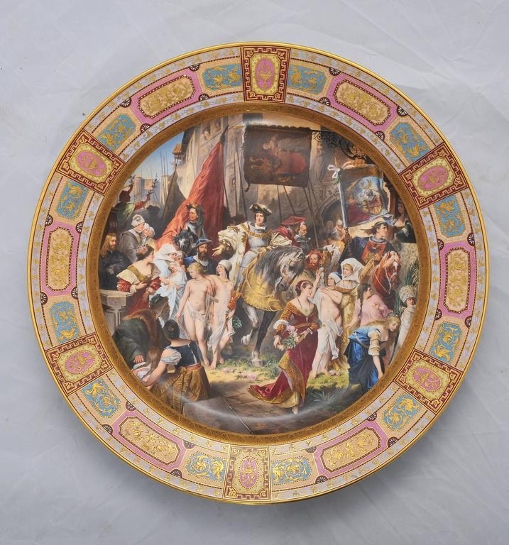 Austrian Large Vienna Porcelain Charger, 19th Century For Sale