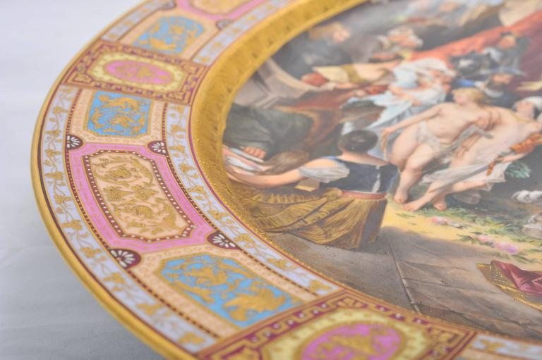 Hand-Painted Large Vienna Porcelain Charger, 19th Century For Sale