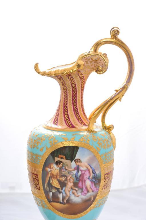 Austrian Pair of 19th Century Vienna Porcelain Ewers For Sale