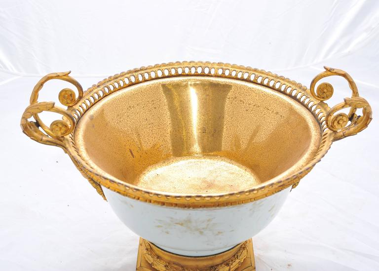 18th Century and Earlier 18th Century Chinese Export Ormolu Mounted Bowl For Sale