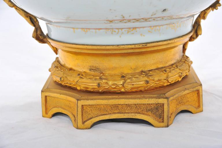 Porcelain 18th Century Chinese Export Ormolu Mounted Bowl For Sale