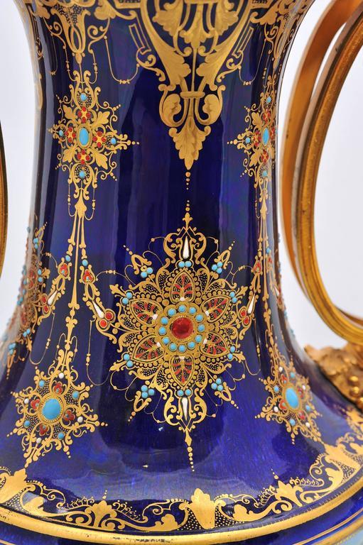 Gilt Pair of Antique Sèvres Vases For Sale
