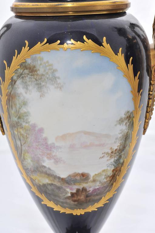 Porcelain Pair of 19th Century Sevres Lidded Vases For Sale