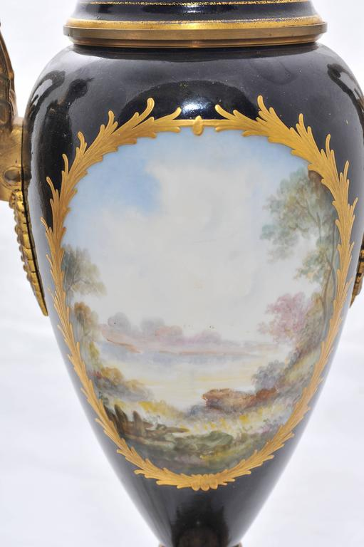 Pair of 19th Century Sevres Lidded Vases For Sale 1