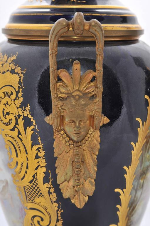 Pair of 19th Century Sevres Lidded Vases For Sale 2