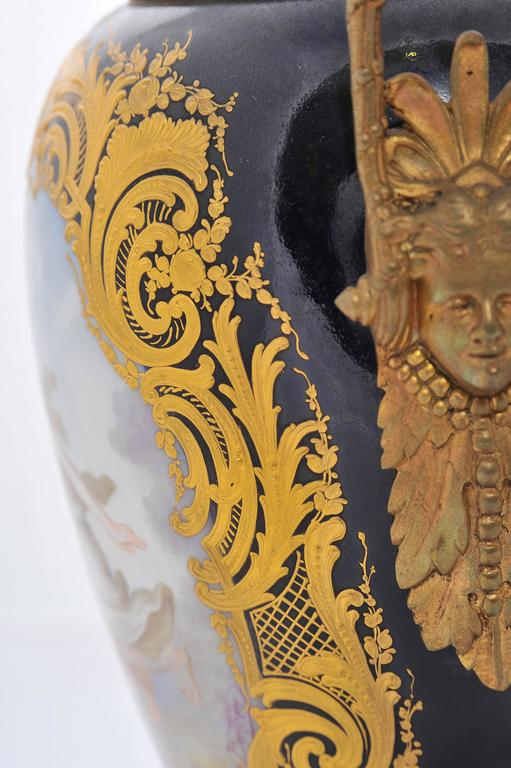 Pair of 19th Century Sevres Lidded Vases For Sale 3