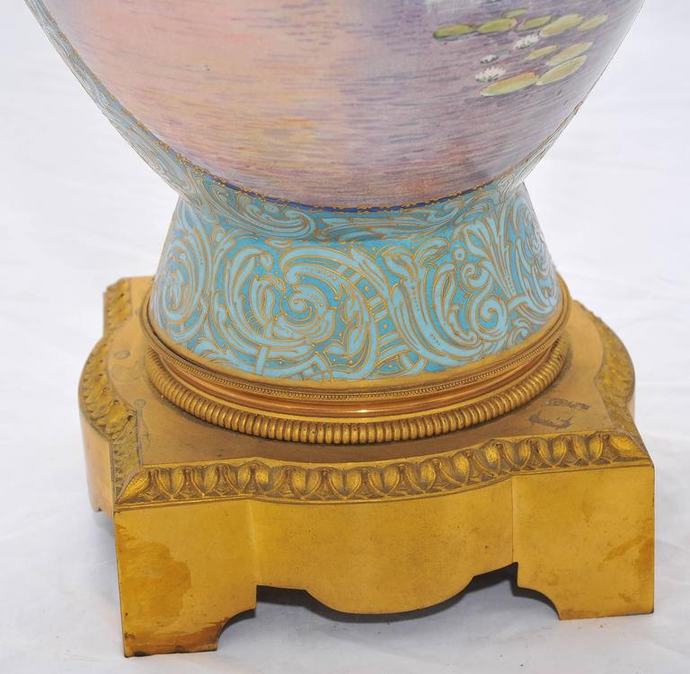 Hand-Painted Large 19th Century Sèvres Vase For Sale