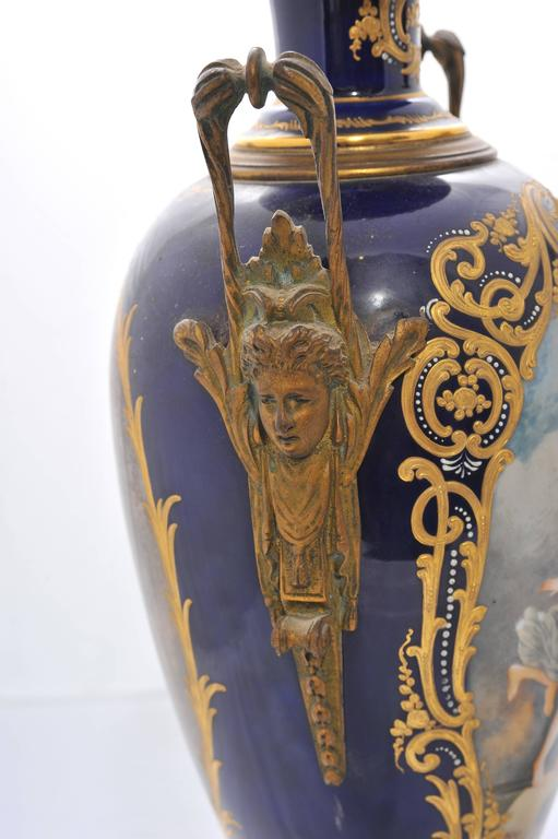 Pair of 19th Century Sevres Porcelain Vases In Good Condition For Sale In Brighton, Sussex