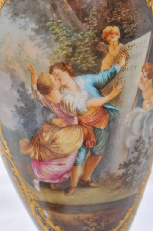 Pair of 19th Century Sevres Porcelain Vases For Sale 2