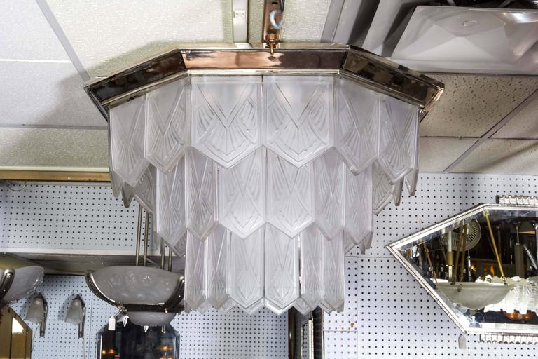 Palatial French Art Deco Frosted Art Glass Octagonal Chandelier, Signed Sabino 3