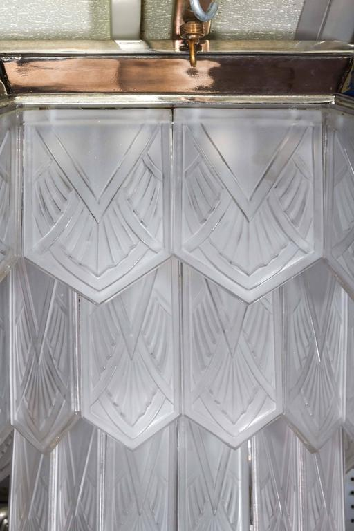 Palatial French Art Deco Frosted Art Glass Octagonal Chandelier, Signed Sabino 5