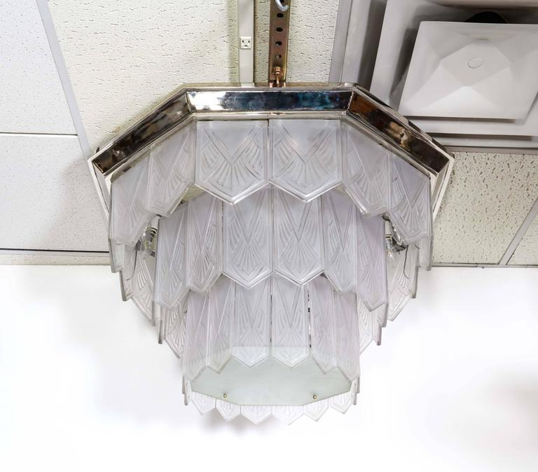 Palatial French Art Deco Frosted Art Glass Octagonal Chandelier, Signed Sabino 9