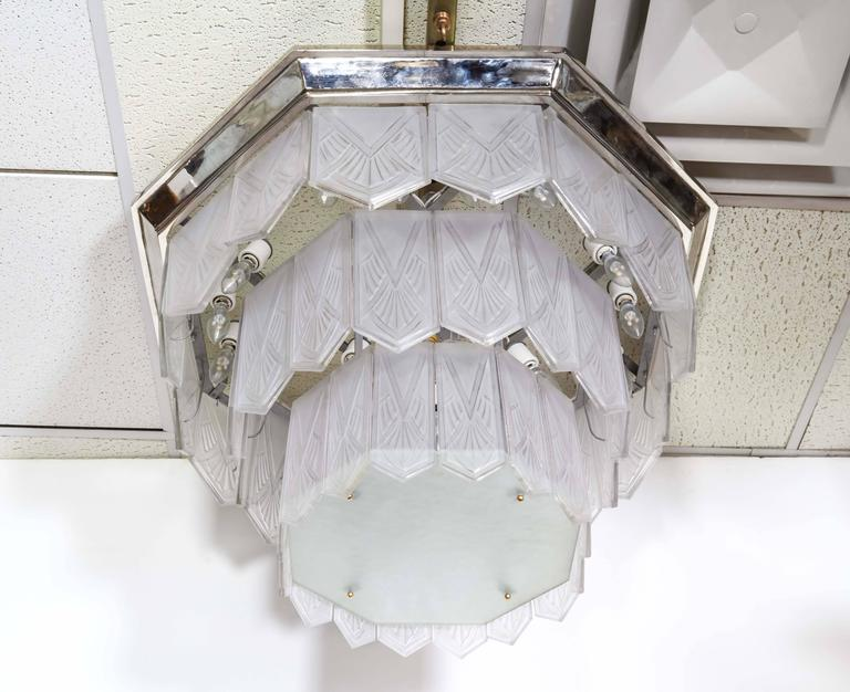 Palatial French Art Deco Frosted Art Glass Octagonal Chandelier, Signed Sabino 7