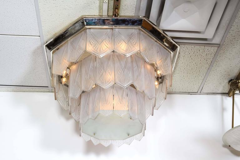 Palatial French Art Deco Frosted Art Glass Octagonal Chandelier, Signed Sabino 4