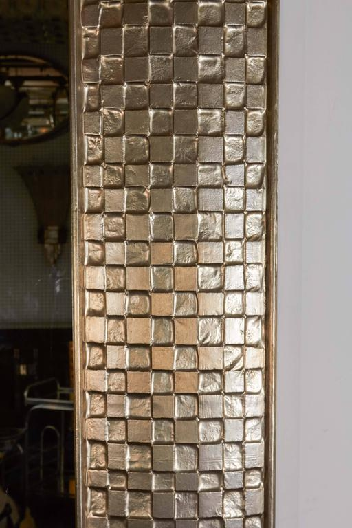 Very Tall Metal Clad Rectangular Mirror with Cubist Motif in Silvery, White Gold 7