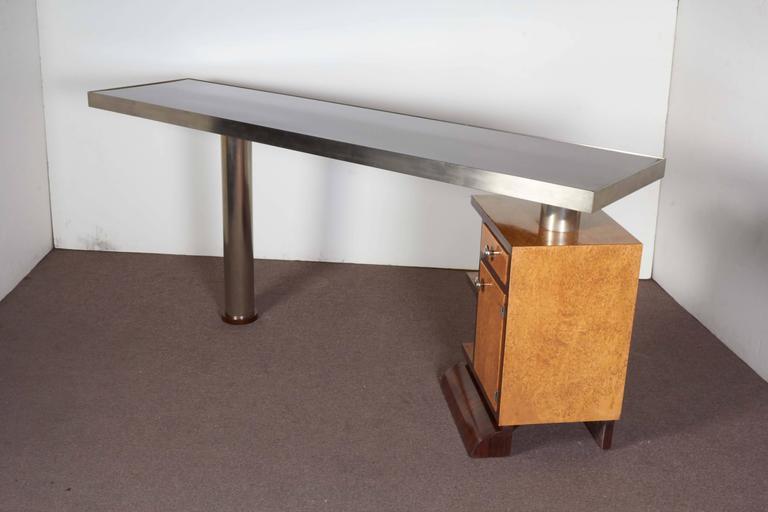 Narrow Modular/ Reversible/ Minimalist Desk In Two Tone Wood And Nickel