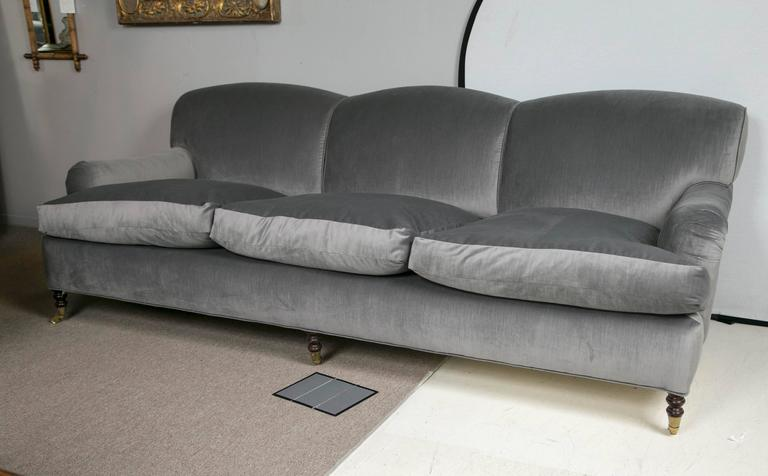 Vintage George Smith Sofa Circa 1980s Reupholstered In Grey Velvet