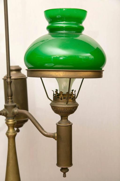 Green Case Glass Double Student Lamp In Good Condition For Sale In Woodbury, CT
