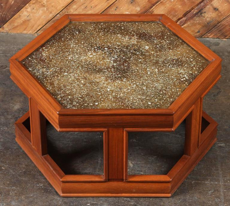 John Keal For Brown Saltman Hexagon End Table, Rare Extra Low Version In  Excellent Condition
