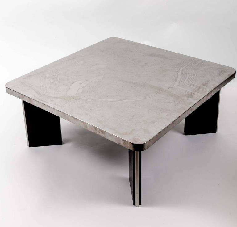 Modernist Aluminum Cocktail Table with Etched Design, on Black Wooden Base 2
