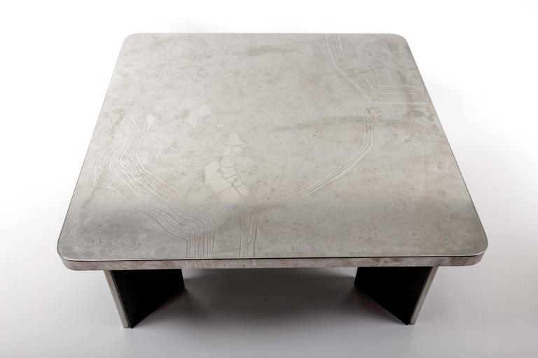Modernist Aluminum Cocktail Table with Etched Design, on Black Wooden Base 10