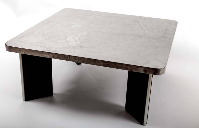 Modernist Aluminum Cocktail Table with Etched Design, on Black Wooden Base 3