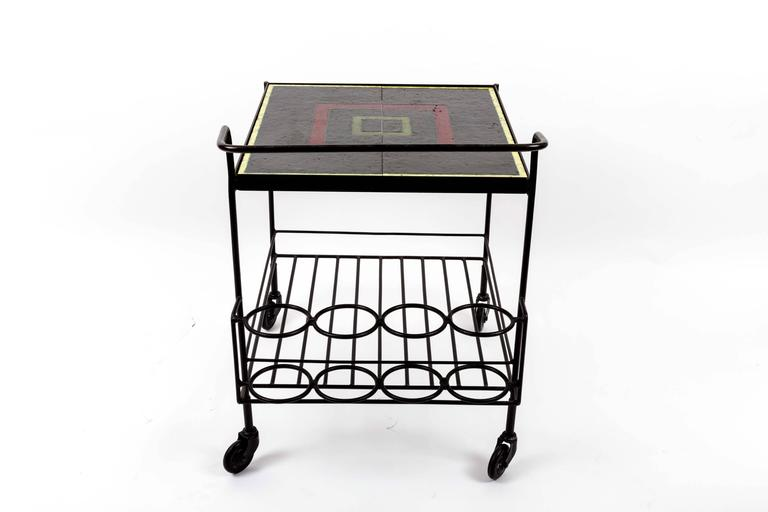 Metal and Tile Bar Cart 3