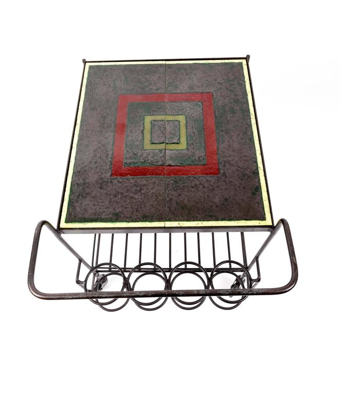 Metal and Tile Bar Cart 4