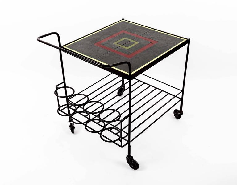 Metal and Tile Bar Cart 5