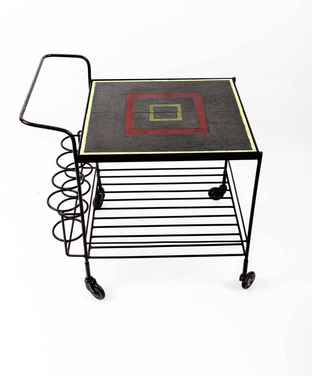 Metal and Tile Bar Cart 6