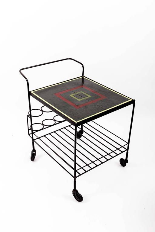 Metal and Tile Bar Cart 8