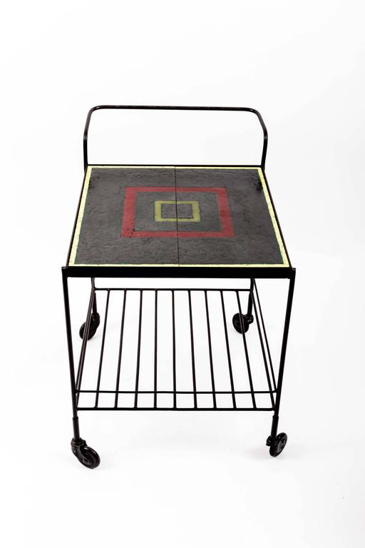 Metal and Tile Bar Cart 9