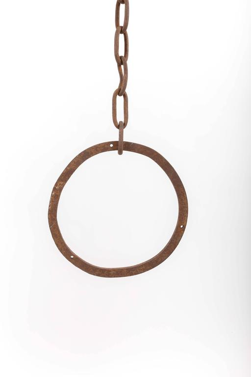 American Hand-Forged Iron Horse Ring and Chain, Usa, Early 20th Century For Sale